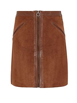 Suede skirt with smooth leather patches