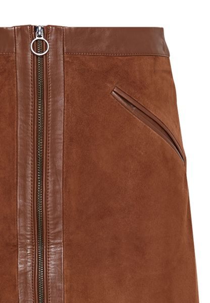 Hallhuber Suede skirt with smooth leather patches