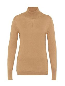 Fine Knit Jumper with Stand Collar