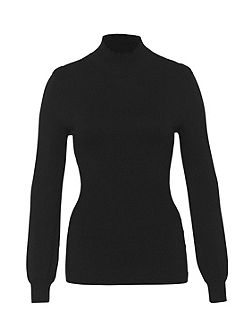 Cinched Stand Collar Jumper