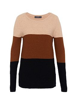 Colour blocking knit jumper