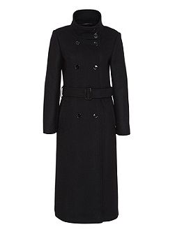 Maxi Coat with Stand Collar