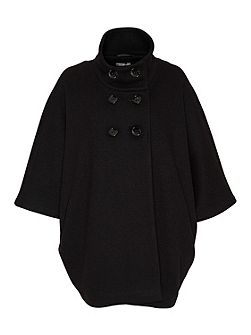 Wool cape with stand collar