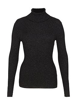 Ribbed Turtle Neck Jumper With Lurex