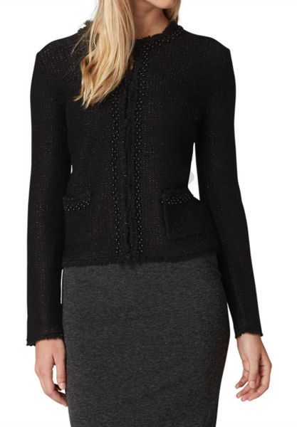 Hallhuber Lurex cardigan with bead embellishments