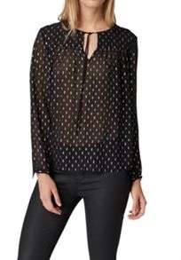 Hallhuber Silk blouse with silver elements