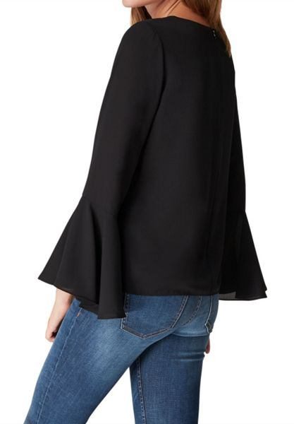 Hallhuber Blouse with swinging ruffle sleeves