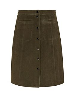 Suede skirt with snap buttons