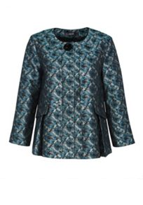 Hallhuber Jacquard jacket with beaded brooch