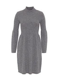 Knit Dress with Tall Stand Collar