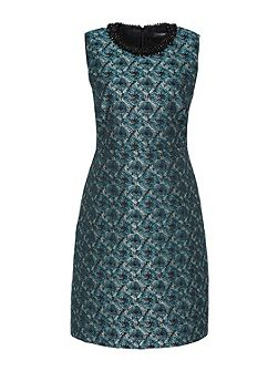 Jacquard dress with beaded collar