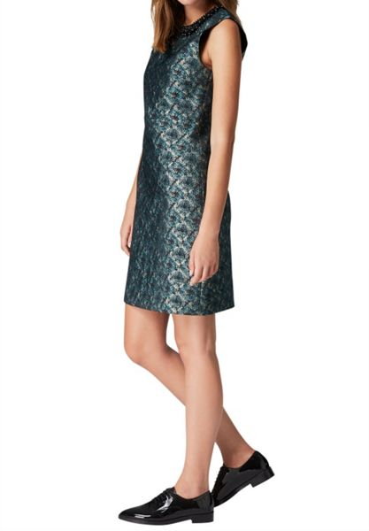 Hallhuber Jacquard dress with beaded collar