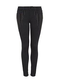 Studded skinny jeans with rhinestones