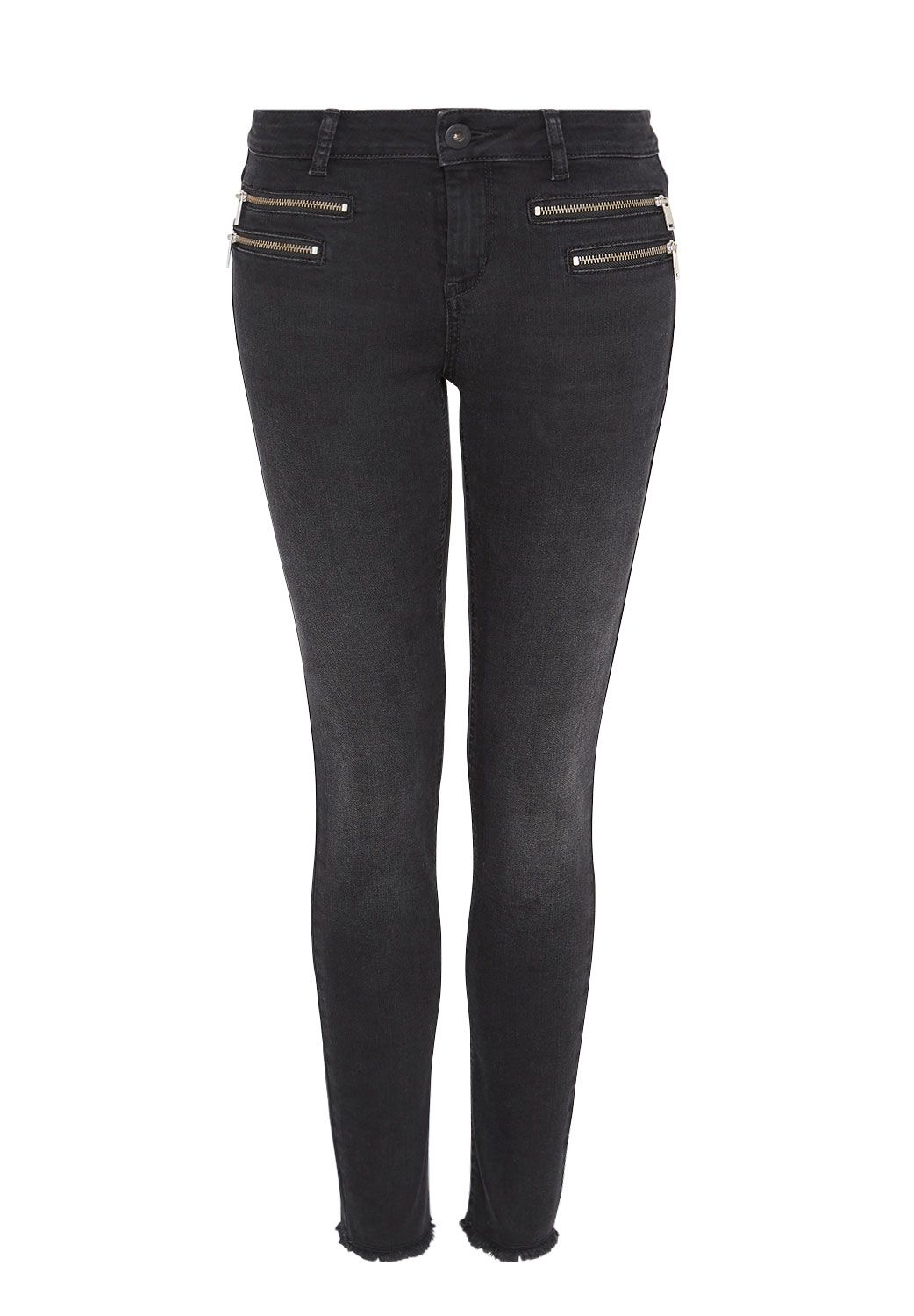Hallhuber Hallhuber Cropped skinny jeans with zippers, Black