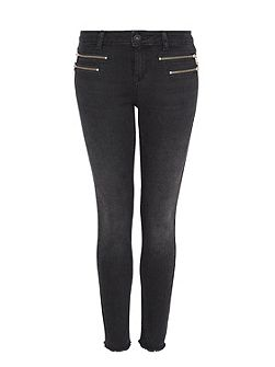 Cropped skinny jeans with zippers