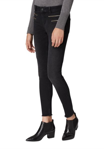 Hallhuber Cropped skinny jeans with zippers