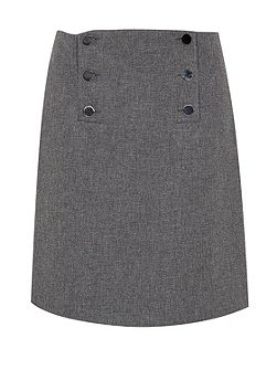 Button flared skirt