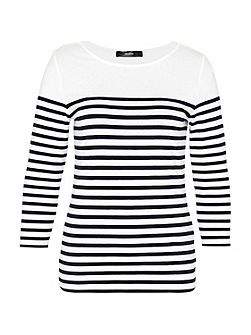 Stripe top with three-quarter sleeves