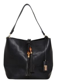 Hallhuber Studded shoulder bag with tassel detail