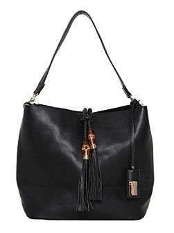 Studded shoulder bag with tassel detail