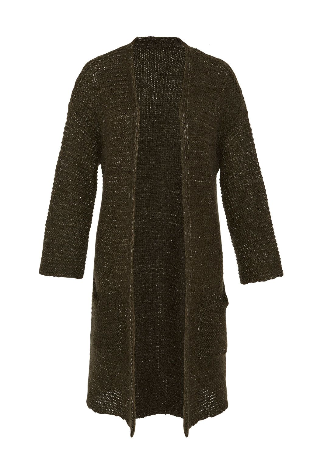 Hallhuber Hallhuber Long Cardigan With Lurex Elements, Green