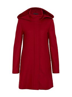 Wool coat with hood and back pleat