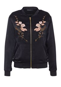 Hallhuber Embroidered satin bomber jacket