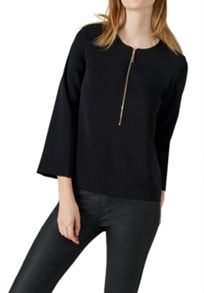 Hallhuber Zipper top with cropped sleeves