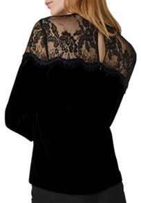 Hallhuber Velvet top with lace yoke