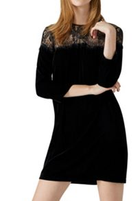 Hallhuber Velvet dress with lace yoke