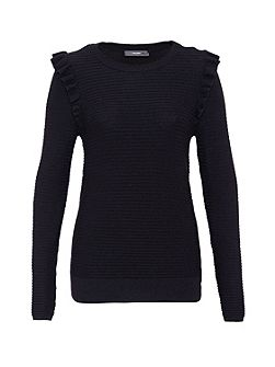 Rib stitch jumper with ruffle detail
