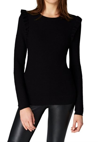 Hallhuber Rib stitch jumper with ruffle detail
