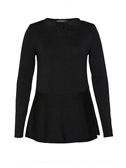 Wool jumper with ruffle detail