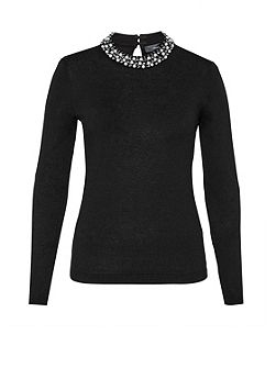 Jumper with bead-embellished collar