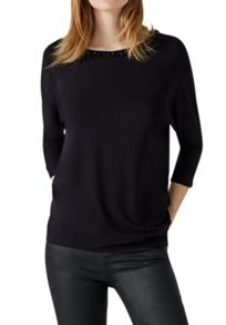 Hallhuber Dolman sleeve top with beaded neckline