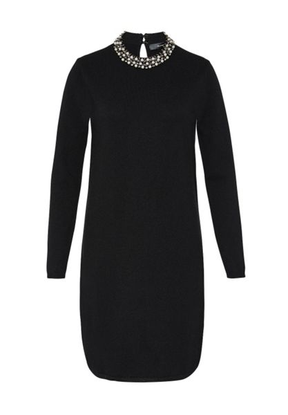 Hallhuber Knit dress with beaded stand collar
