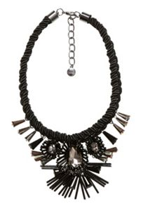 Hallhuber Choker with cord and sculptural blossoms