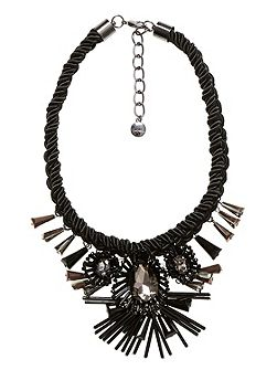 Choker with cord and sculptural blossoms