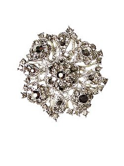 Floral brooch with rhinestone detailing