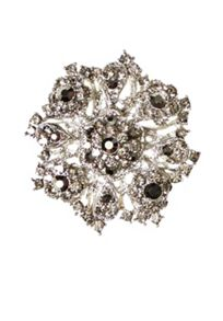 Hallhuber Floral brooch with rhinestone detailing