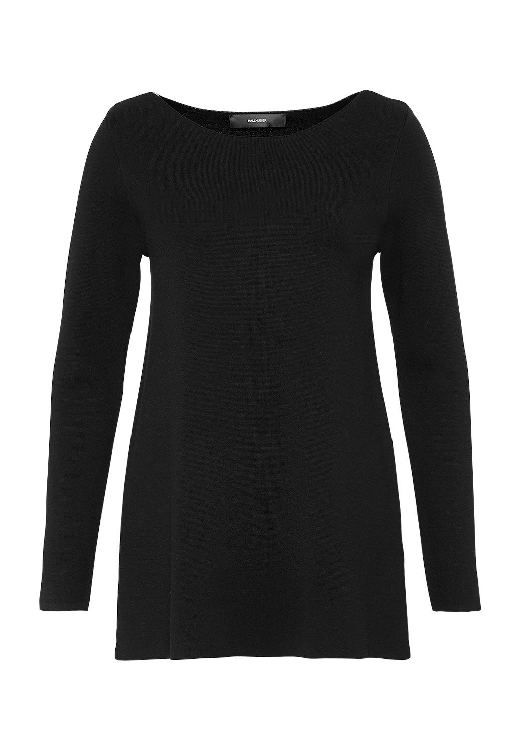 Hallhuber Hallhuber Boat neck jumper with A-line cut, Black