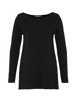 Boat neck jumper with A-line cut