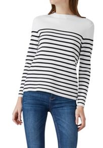 Hallhuber Striped jumper with subtle stand collar