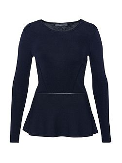 Peplum jumper with decorative seams