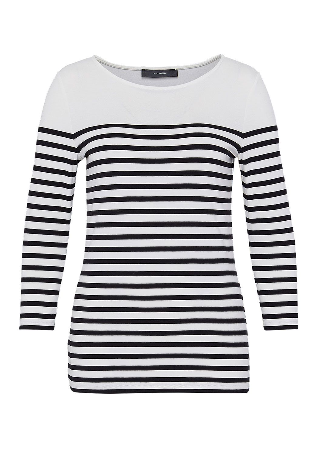 Hallhuber Hallhuber Stripe top with three-quarter sleeves, Black