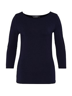 Boat neck top with three-quarter sleeves