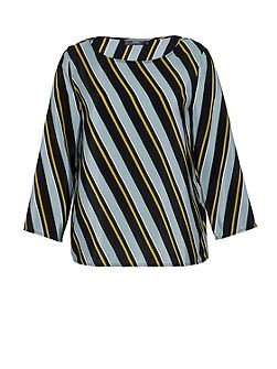 Silk top with diagonal stripes