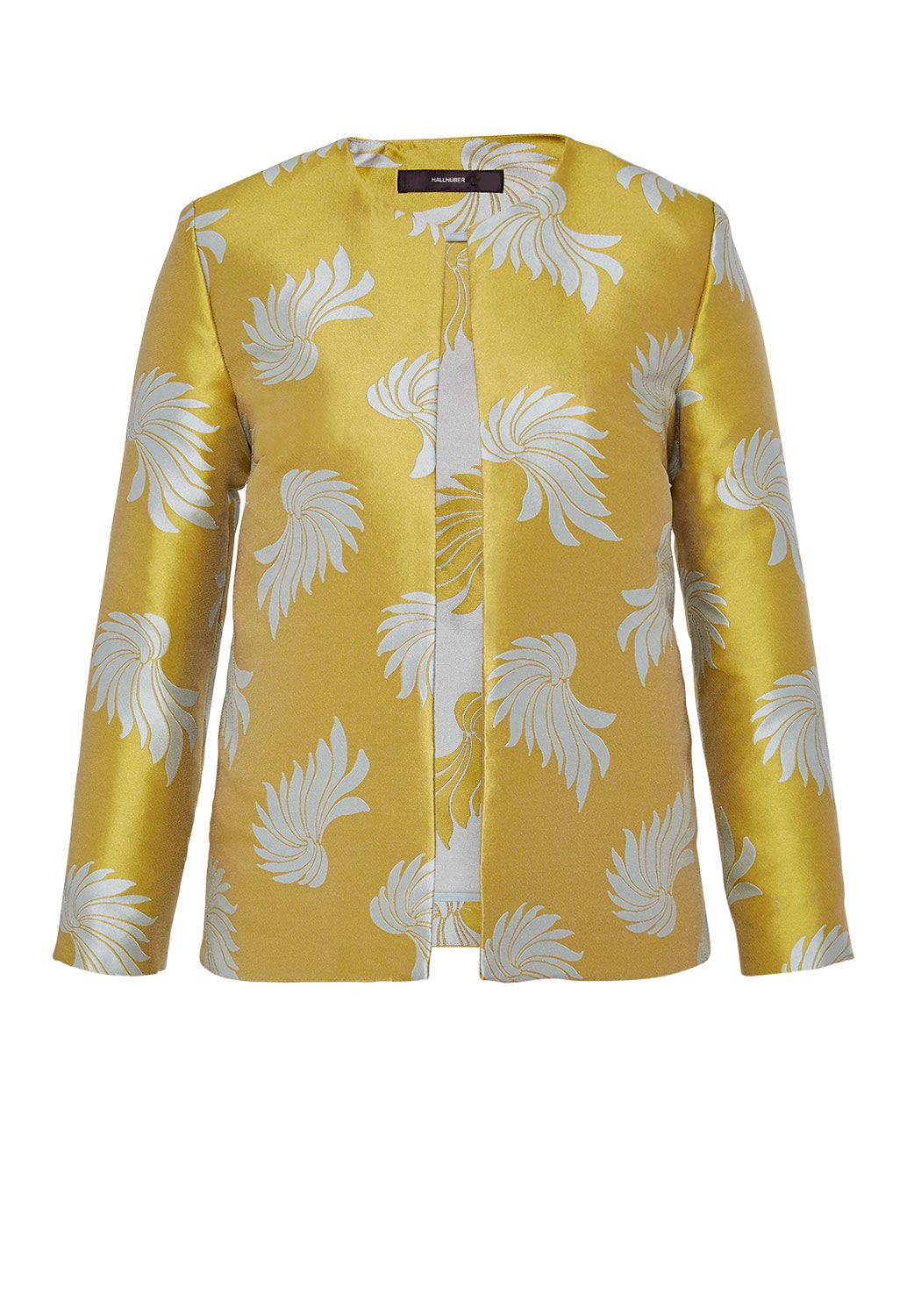 Hallhuber Jacquard jacket with leaf pattern, Yellow
