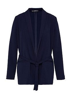 Shawl collar blazer with belt
