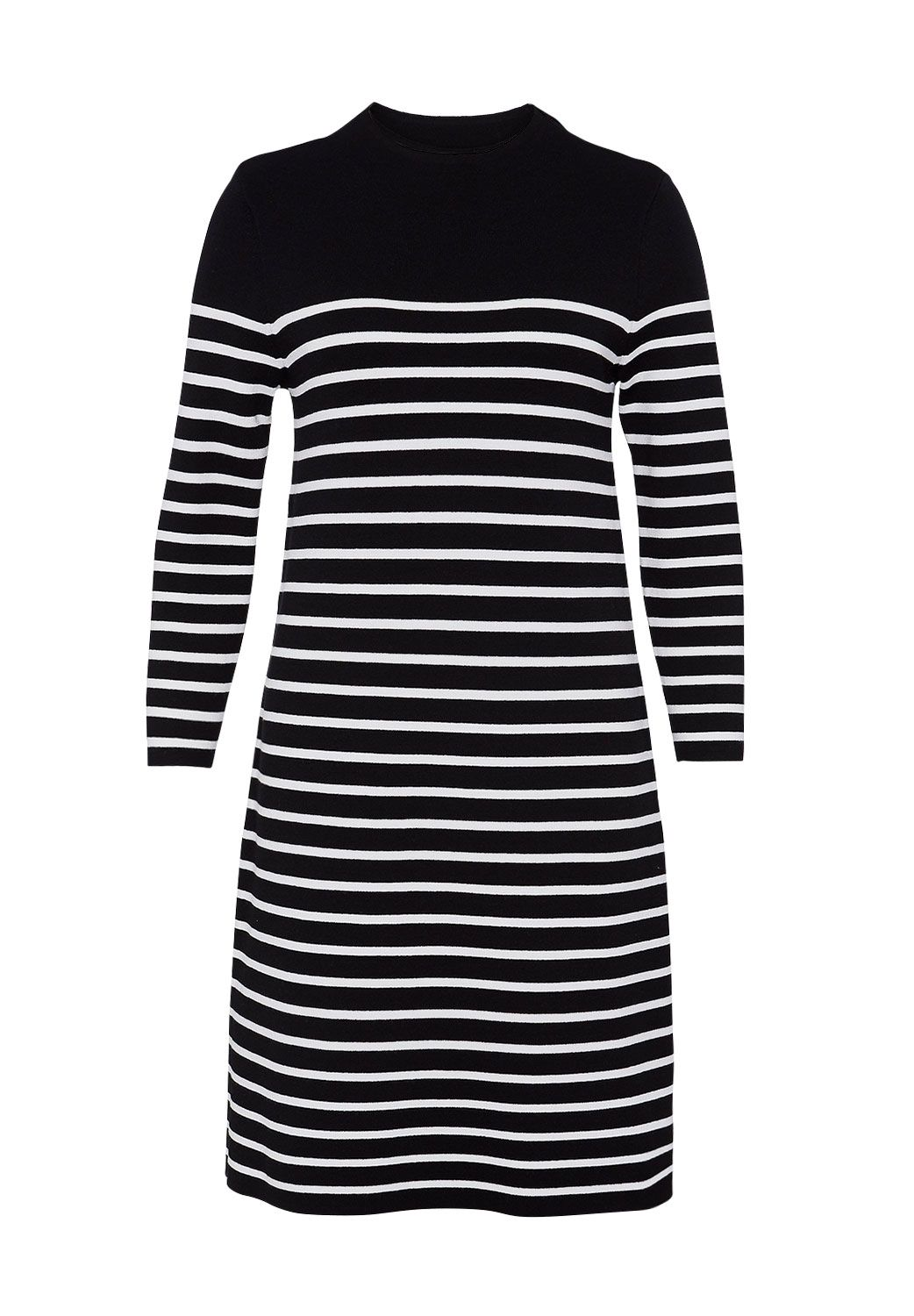 Hallhuber Hallhuber Striped A-line knit dress, Black